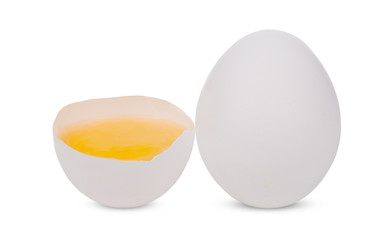 Broken and whole white eggs isolated on white background