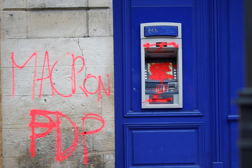 "A vandalized automatic bank teller is seen the day after clashes during a national day of protest by the ""yellow vests"" movement in Bordeaux"