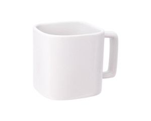 Blank mug isolated on white background. Drink cup for your design. Exotic mug in modern style. Clipping paths object. ( Square shape )