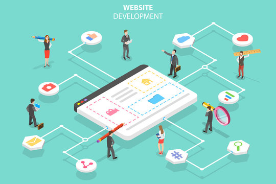 Isometric flat vector concept of web services agency, website builder, site constructor, software deveolpment.