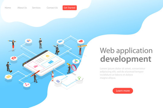 Isometric flat vector landing page template of web services agency, website builder, site constructor, software deveolpment.