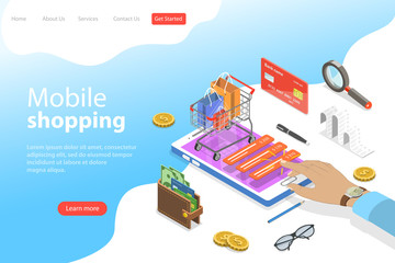 Flat isometric vector landing page template of mobile shopping, e-commerce, mobile payment.
