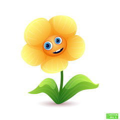 Cartoon character cute bright flower
