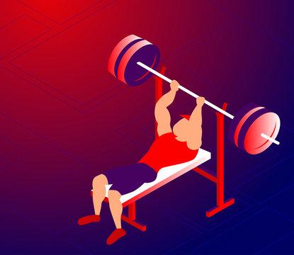 Cartoon sportsman training bench-press for bigger muscles