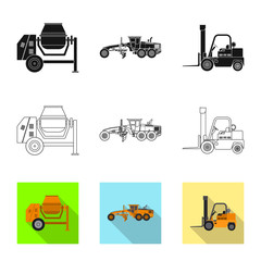 Isolated object of build and construction logo. Collection of build and machinery stock vector illustration.