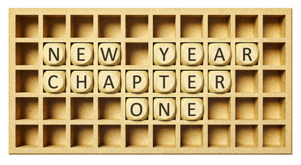 a wooden grid with cubes new year chapter one