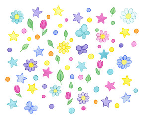 Watercolor colorful hand drawn elements for holiday decoration - stars, flowers, leaves, tulips, butterflies, points