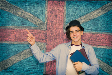 student with books and english flag, learn english