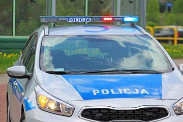 close up on Policja (Police) sign on car. Poland