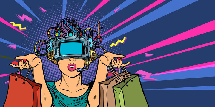 woman shopping on sale. virtual reality VR glasses