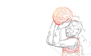 Basketball Player Shooting form lines, triangles and particle style design. Illustration vector