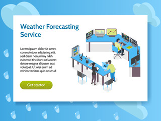 Isometric Meteorological Weather Center Concept Banner