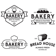 Bakery logotypes set. Bakery vintage design elements, logos, badges, labels, icons and objects. Bread house.
