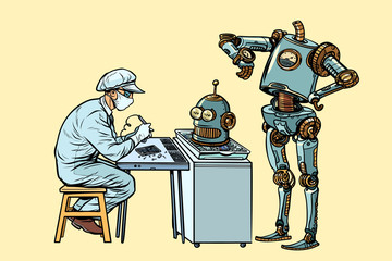 The robot came to repair the head. Electronics engineer speciali