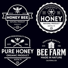 Vector honey vintage logo and icons for honey products, apiary and beekeeping branding and identity.