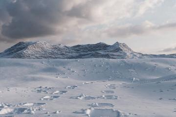 Schneespuren vor Berg im Abendlicht. 3D Rendering