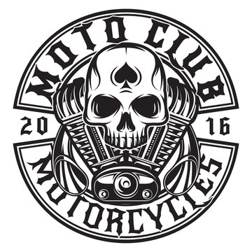 Monochrome vector pattern on the theme of moto with skull and engine