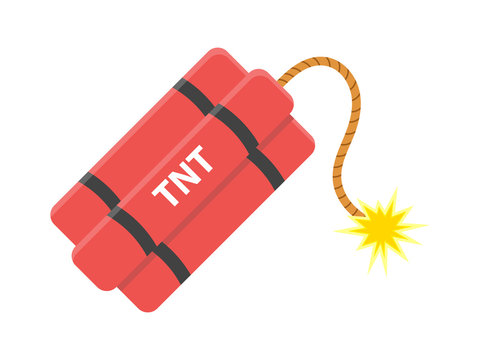Dynamite with burning cord. TNT Bomb. Explode Weapon. Isolated white background. Vector illustration.
