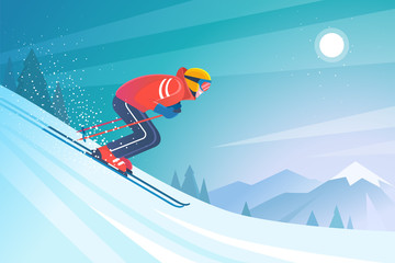Skiing in the mountains. Vector illustration in trendy flat style with skier in red sports suit, skiing downhill on the snow mountains landscape background. Wall mural