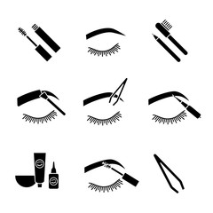 Eyebrows shaping glyph icons set
