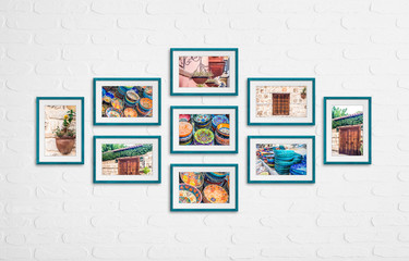 Photo frames with street design photography, colorful pictures in old city, Nine green frameworks collage on white bricks wall. Interior decor mock up