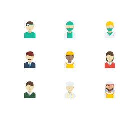 Occupation icons set. Arab worker and occupation icons with nurse, office boss and female worker. Set of green for web app logo UI design.