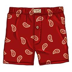 Vector Cartoon Red Male Underwear with Pattern. Cotton Mens Briefs