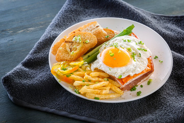 Fried egg with bacon in a plate with fried pieces of bread, greens and french fries on a gray wooden table. Close-up