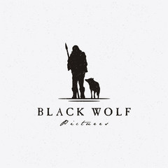 Rustic Hipster Silhouette Wolf and Primordial Hunter for Movie  Production Logo