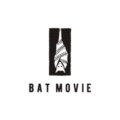 Upside Down Hanging Bat and Film Stripes for Movie Production Logo