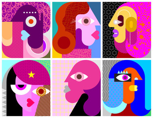 Foto op Canvas Abstractie Art Six Portraits vector illustration