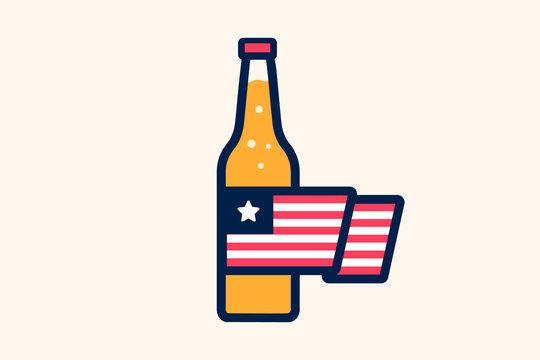 Beer bottle, American flag, flat, vector illustration