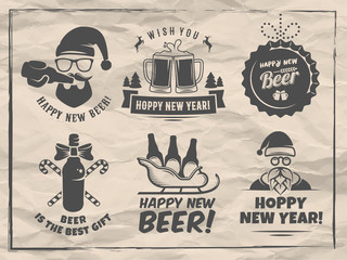 New year craft beer badges and stickes. Vector christmas beer logos with Santa, bottles, mugs, sleigh and holiday decoration for bar or pub. Vintage paper background.