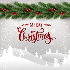 Merry Christmas typographical on white background with garland of Christmas tree branches, winter landscape, snowflakes, light, stars. Xmas card. Vector Illustration