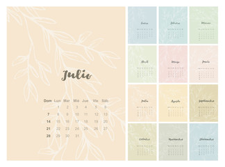 Various Background Colors Vector Spanish Calendar. 2019 Year. Pastel Colors. Delicate Abstract Floral Pink, Blue, Green and Yellow Design. Single Month Cards.
