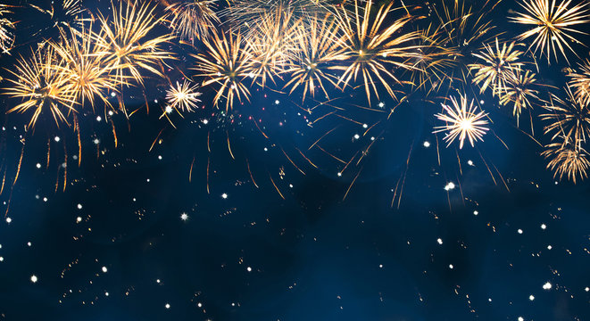Beautiful Wide Angle Holiday background with fireworks