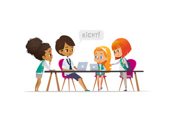 Happy girl scouts and female troop leader learning programming during lesson, Concept of coding for children in scouting camp. Vector illustration.