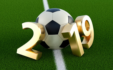 Soccer 2019 - A soccer ball representing the 0 in 2019
