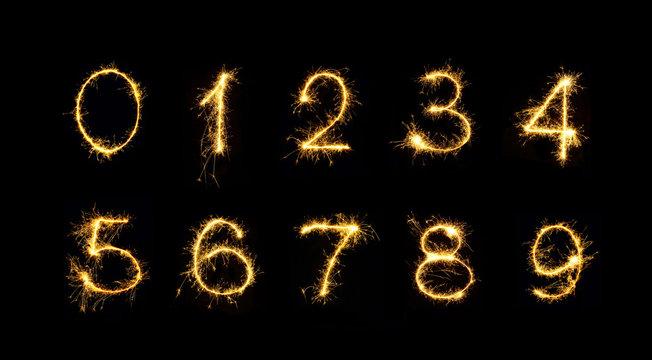 Set of Burning sparkler Numbers isolated on black background