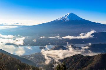 Fototapete - 新道峠より朝の富士山