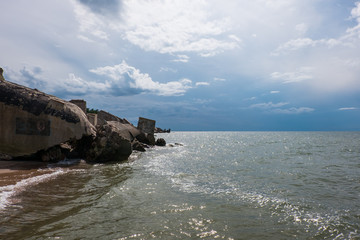 Ruins of Northern Forts on the beach of the Baltic sea, part of an old fort in the former Soviet base Karosta in Liepaja, Latvia