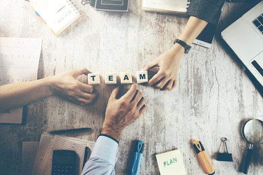 team people hand team text