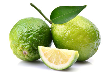 Lime fruit on white background