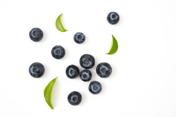 Group blueberries and leaf isolated on white Wall mural