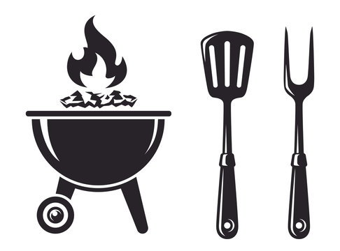 Monochrome Icon BBQ. Grill with fork and spatula, barbecue tools. Vector illustration, isolated on white background. Simple shape for design logo, emblem, symbol, sign, badge, label, stamp.