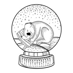 Vector outline snow globe or snowball with falling snowflakes and cute cartoon koala in black isolated on white background. Contour decoration for New Year holiday design and Christmas coloring book.