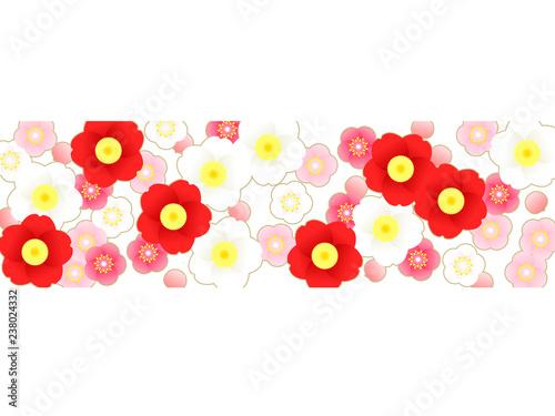 紅白の梅と椿の花の背景イラスト Stock Image And Royalty Free Vector