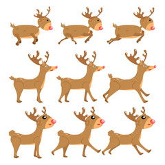 Reindeer, cartoon vector set collection, decoration for kids, baby, animal character isolated on white background illustration