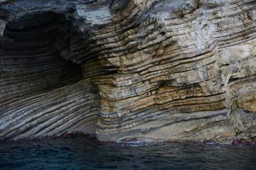 rocks in Blue Caves, Corfu, Ionian Islands, Greece