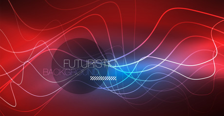 Glowing abstract wave on dark, shiny motion, Christmas and New Year magic space light. Techno abstract background